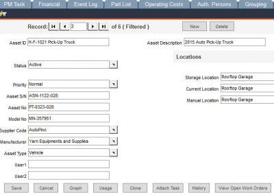 FaciliWorks CMMS Software Asset Entry
